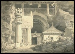 Exterior of rock temple, Karle. October 1804